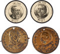 Political:Ferrotypes / Photo Badges (pre-1896), Benjamin Harrison and Grover Cleveland: Two Pairs of CampaignArtifacts....