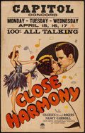 """Movie Posters:Musical, Close Harmony (Paramount, 1929). Window Card (14"""" X 22""""). Musical.. ..."""