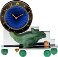 Timepieces:Clocks, E. Gubelin Lucerne Unusual Jade, Enamel & Coral MiniatureClock, circa 1915. ...