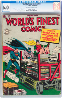 World's Finest Comics #13 (DC, 1944) CGC FN 6.0 Off-white to white pages