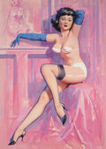Pin-up and Glamour Art, WILLIAM MEDCALF (American, 20th Century). Slinky BlueSleeves. Oil on board. 34.5 x 26 in. (image). Signed lowerright. ...