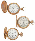 Timepieces:Pocket (post 1900), A Lot Of Three 18 Size Hunter's Case Pocket Watches. ... (Total: 3Items)
