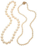 Estate Jewelry:Necklaces, Cultured Pearl Necklaces. ... (Total: 2 Items)