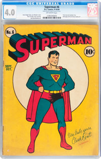 Superman #6 (DC, 1940) CGC VG 4.0 Off-white pages