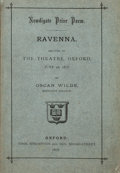 Books:Literature Pre-1900, Oscar Wilde. Ravenna. Newdigate Prize Poem. Recited in theTheatre, Oxford, June 26, 1878. Oxford. Thos. Shrimpton a...