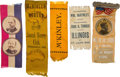 Political:Ribbons & Badges, William McKinley and William Allison: Five 1896 Ribbons....