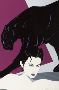 PATRICK NAGEL (American, 1945-1984) Posing with Panther, 1983 Acrylic on canvas 36 x 24 in. Si