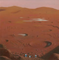 Pulp, Pulp-like, Digests, and Paperback Art, CHESLEY BONESTELL (American, 1888-1986). Mars Landscape,1977. Oil on board. 11 x 11 in. (sight). Signed lower left. Art...