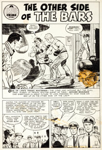 "George Tuska Crime Does Not Pay #130 ""The Other Side of the Bars"" Page 1 Original Art (Lev Gleason, 1954)"