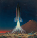 Pulp, Pulp-like, Digests, and Paperback Art, CHESLEY BONESTELL (American, 1888-1986). Rocket Ferry LeavingMars, interior book illustration, circa 1964. Oil on board...