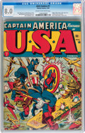 Golden Age (1938-1955):Superhero, USA Comics #7 (Timely, 1943) CGC VF 8.0 Cream to off-white pages....