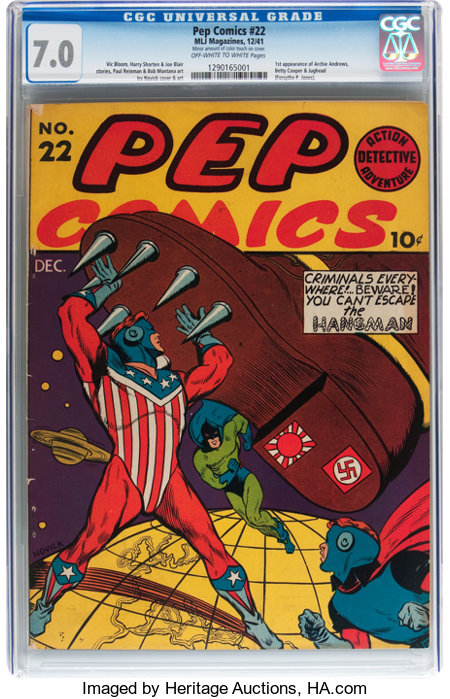 Pep Comics #22 (MLJ, 1941) CGC FN/VF 7.0 Off-white to white pages....