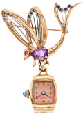 Timepieces:Pendant , Ruby, Sapphire & Amethyst 14k Gold Butterfly Watch Pendant. ...