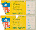 Football Collectibles:Tickets, 1967 Ice Bowl - NFL Championship Ticket Stubs Lot of 2....