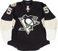 Hockey Collectibles:Uniforms, 2007-08 Darryl Sydor Game Worn Pittsburgh Penguins Jersey With TeamLetter. ...