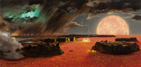 CHESLEY BONESTELL (American, 1888-1986) Beginning of the World (The Earth is Born), LIFE magazine cover