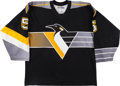 Hockey Collectibles:Uniforms, 2001-02 Janne Laukkanen Game Worn Pittsburgh Penguins Jersey WithTeam Letter. ...