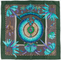 "Luxury Accessories:Accessories, Hermes 90cm Green & Gray ""Brazil,"" by Laurence BourthoumieuxSilk Scarf. ..."