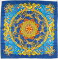 "Luxury Accessories:Accessories, Hermes 90cm Royal Blue ""Luna Park,"" by Joachim Metz Silk Scarf. ..."