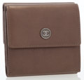 Luxury Accessories:Bags, Chanel Brown Leather Double Flap Wallet. ...