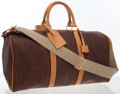Luxury Accessories:Bags, Etro Burgundy Paisly Canvas Travel Bag. ...