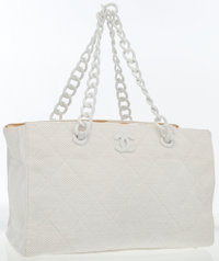 Chanel White Quilted Fabric Tote Bag