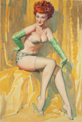 Pin-up and Glamour Art, WILLIAM MEDCALF (American, 20th Century). Fiery Redhead inYellow and Green. Oil on board. 34.5 x 25 in. (image).Signed...