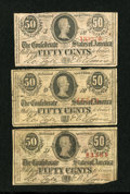 Confederate Notes:1863 Issues, T63 50 Cents 1863 Three Examples.. ... (Total: 3 notes)