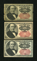 Fractional Currency:Fifth Issue, Fr. 1309 25c Fifth Issue. Three Examples. Very Good.... (Total: 3notes)
