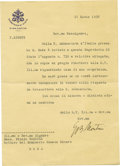 "Autographs:Non-American, Pope Paul VI Typed Letter Signed, ""G B Montini, one page, 5""x 8.5"", Vatican City, March 18, 1938, to Plinic Pascoli, Ro...(Total: 1 Item)"