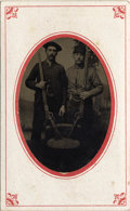 Photography:Tintypes, MEN WITH WINCHESTER RIFLES - SLEEVED 1/6TH PLATE TINTYPE - ca.1880. This is a fine 1/6th plate tintype featuring two men arm... (Total: 1 Item)
