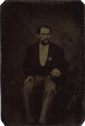 Photography:Tintypes, INTERESTING TINTYPE OF UNKNOWN LAWMAN. A forty-something lawmanwith a star on his lapel sits for his portrait by an unknow...(Total: 1 Item)