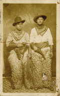 Photography:Studio Portraits, REAL PHOTO POSTCARD OF AFRICAN-AMERICAN AND HISPANIC COWBOYS...