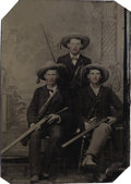 Photography:Tintypes, 1/6th PLATE TINTYPE OF THREE HUNTERS WITH SHOTGUNS AND PISTOL - ca.1865-1890. This is a nice tintype of three men with unusu... (Total: 1 Item)