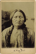 Photography:Cabinet Photos, DAKOTA SIOUX INDIAN CHIEF SITTING BULL CABINET CARD ca 1880's. Dakota Sioux Indian. Sitting Bull was born approximately 183... (Total: 1 Item)