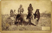 GERONIMO & NAICHE ON HORSE BACK, C.S. FLY, TOMBSTONE, ARIZONA TERRITORY, CABINET CARD ca. 1886. Photographed by note...