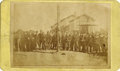 Photography:CDVs, CHARLIE WHITE HUNG AT PUEBLO, COLORADO TERRITORY 1870s. Carte de Visite Public hanging (lynching) of man on pole with hi... (Total: 1 Item)