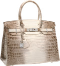 Luxury Accessories:Bags, Hermes Extraordinary Collection 30cm Diamond, Matte Himalayan Nilo Crocodile Birkin Bag with 18K White Gold Hardware. Pris...