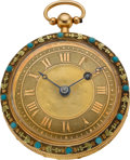 Timepieces:Pocket (pre 1900) , Jean Étienne Piot Geneva Multicolor Gold & Turquoise VergeFusee, circa 1795. ...