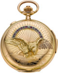 "Timepieces:Pocket (pre 1900) , Swiss 18k Gold Quarter Hour Repeater With Raised ""Eagle"" Case,Chronograph, circa 1895. ..."