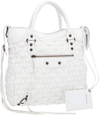 Balenciaga White Bubble Leather Velo Tote Bag