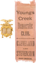 Political:Ferrotypes / Photo Badges (pre-1896), Cleveland & Stevenson: Cardboard Jugate and Ribbon....