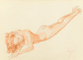 Pin-up and Glamour Art, ALBERTO VARGAS (American, 1896-1982). Exuberance, Legacy Nude#4, preliminary study. Watercolor and pencil on paper. 11....