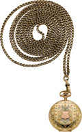 Timepieces:Pocket (post 1900), Waltham O Size Gold Multicolor With 62 Inch 14k Gold Neck Chain,circa 1907. ...
