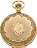 Timepieces:Pocket (post 1900), Swiss O Size 14k Gold Hunters Case, circa 1905. ...