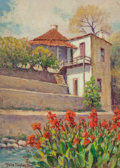 Texas:Early Texas Art - Regionalists, ROLLA SIMS TAYLOR (American, 1872-1970). The Terrace, SanAntonio River. Oil on canvas laid on board. 14 x 10 inches(35...