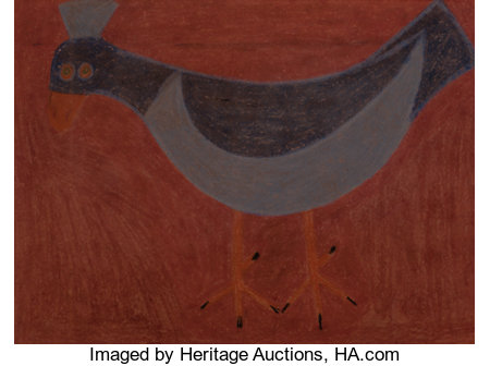 EDDIE ARNING (American, 1898-1992)Blue BirdCrayon on paper14-1/2 x 19-1/2 inches (36.8 x 49.5 cm) (sight)Signed ...