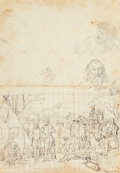 Texas:Early Texas Art - Pre-1900, RICHARD PETRI (German/American, 1824-1857). Study of anEncampment. Pencil and ink on paper. 11-1/4 x 6 inches (28.6 x1...
