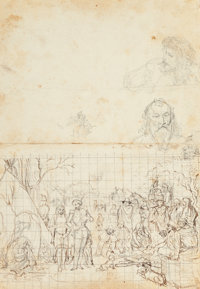 RICHARD PETRI (German/American, 1824-1857) Study of an Encampment Pencil and ink on paper 11-1/4