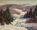 Texas:Early Texas Art - Regionalists, HAROLD ARTHUR RONEY (American, 1899-1986). Snowy MountainScene. Oil on canvas laid on masonite. 25 x 30 inches (63.5 x...